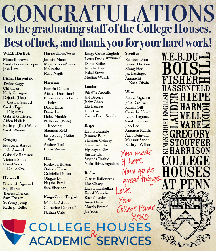 Congratulations to the graduating staff of the College Houses.  Best of luck, and thank you for your hard work.  (Click for the full list of names.)