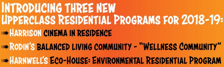 New residential programs for 2018