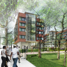 An artist's rendering of New College House West