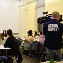 Nydia Han speaking at Rodin College House, filmed by an Action News 6ABC cameraman